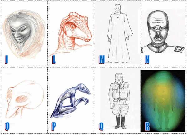 Alcune delle razze aliene descritte dagli addotti sotto regressione ipnotica.