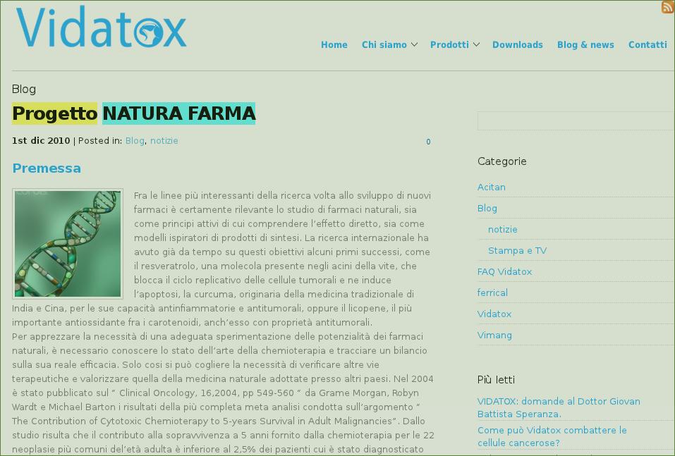 Pagina del progetto Natura Farma eliminata dal sito Vidatox.it . Clicca sull'immagine per visualizzarla