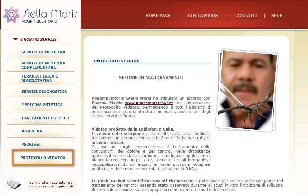 Così appariva sul sito dell'istituto Stella Maris - Clicca sull'immagine per ingrandire