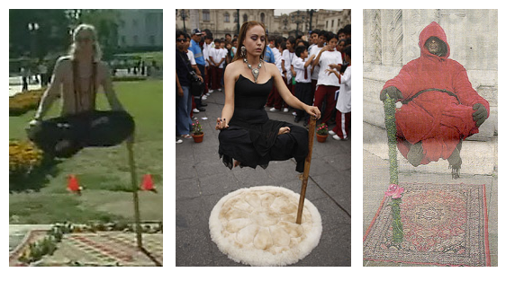 Da sinistra: Ramana, la Princesa Inca, l'uomo sospeso che si è esibito a Como nel 2011